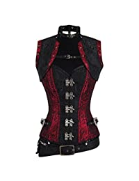 Fully Spiral Boned Steampunk Overbust Corset with Jacket and Detachable Belt