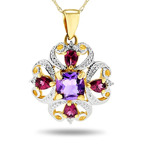 (14k Two-Tone White and Yellow Amethyst and Pink Tourmaline Pendant Necklace)