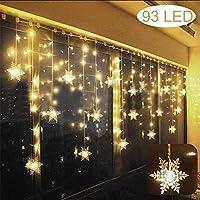 LED Tenda Luminosa, Catena Luminosa, Luci per Tende, Luci cascata, 3.5 * 0.8m 93 Luci Stringa Bianco Caldo 8 Modalità...