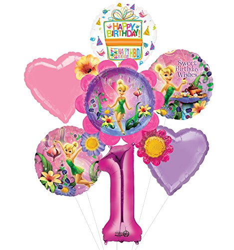 Tinkerbell 1st Birthday (Mayflower Tinkerbell 1st Birthday Party Supplies Flower Cluster Balloon Bouquet)