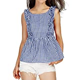 Fashion Women Tank Top Ruffles Halter Top Blouse Plaid Printed T Shirt Graphic Tees Sleeveless O Neck Blue