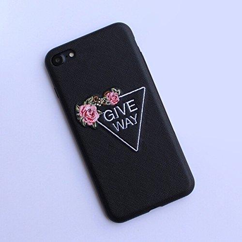 Phone Taschen & Schalen Für iPhone 6 Plus & 6s Plus Stickerei Blumenmuster PU + TPU + PC Material Schützende Rückseite Fall ( Color : Black )