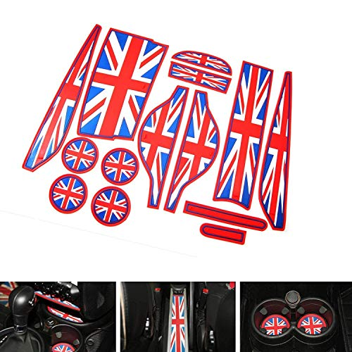 iJDMTOY Union Jack Style Silicone Interior Cabin Mats for 11-16 Mini Cooper R60 Countryman, 14-Piece Red/Blue Cupholder Coasters, Side Door Compartment/Glovebox/Center Console Liners