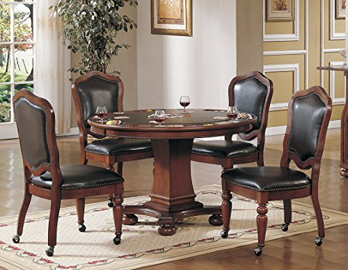 - Sunset Trading CR-87148-5PC 5 Piece Bellagio Dining-Game-Table-Set, Reversible Poker Top with Cup Holders
