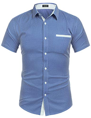 Unique Style Dress - COOFANDY Men's Summer Casual Short Sleeve Button Down Printed Dress Shirts Blue