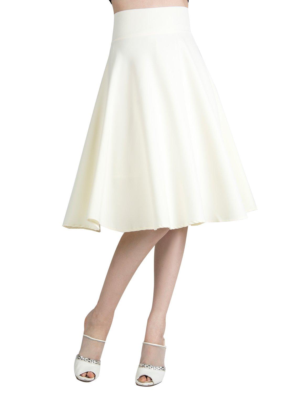 CHOiES record your inspired fashion Women's Cream High Waist Cream Midi Skater Skirt XL