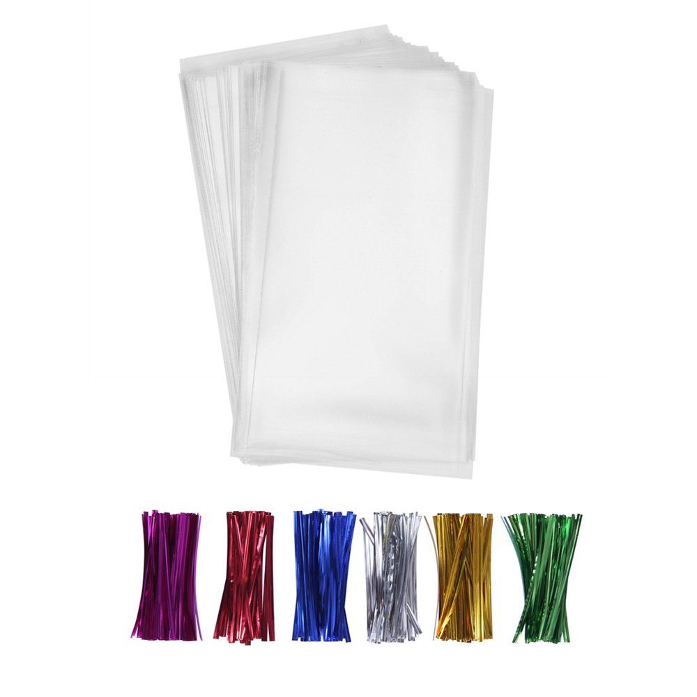 "200 Clear Plastic Cello Bags 4x9 with 4"" Twist Ties 6 Mix Colors - 1.4 mils Thick OPP Treat Bags for Gift Wrapping Packaging Decorations Storage (4'' x 9'')"
