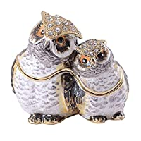 HSRT Mother and Baby Owl Faberge Trinket Jewelry Box Crystal Jeweled Pewter Ornament Collectible Gifts