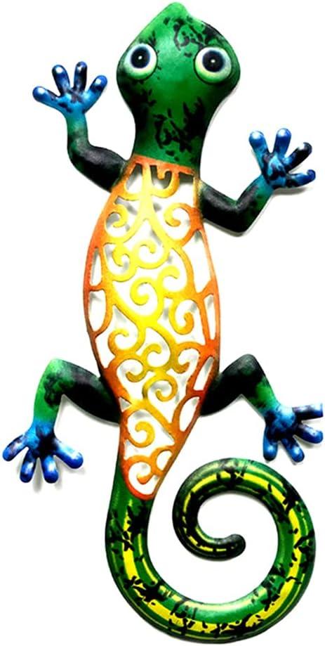 HUIJUAN Hierro forjado Gecko Ornamento al aire libre valla terraza metal lagartos adornos