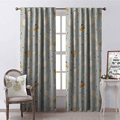 Gloria Johnson Tea Party Heat Insulation Curtain Coffee Pot Teapot Spoons Plates and Creamy Slices of Cake with Cherries for Living Room or Bedroom W52 x L84 Inch Bluegrey Red Green