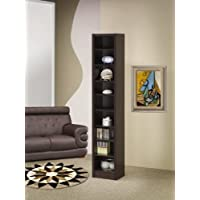 Espresso finish wood narrow 9 shelf book case