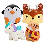 BEYUMI Slow Rising Toy, Unicorn, Glasses Cat, Deer Cake, Penguin Squishy Cream Scented Simulation Cute Animal & Food Squeeze Toys for Collection Gift, Decorative Props Large or Stress Relief