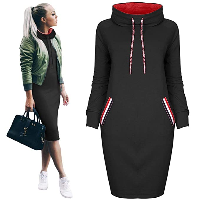Oopstyle Womens Plus Size Hoodie Dress Pockets Casual Turtle Neck