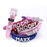 "HOW'S YOUR DOG Fab Glitter ""Name Me"" Personalized Collar for Dogs and Cats - Free Swarovski Crystal Letters included - Rave Red"