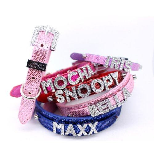 HYD - Collars & Leads How's Your Dog Fab Glitter Name Me Personalized Collar for Dogs and Cats - Free Swarovski Crystal Letters Included - Rave Red