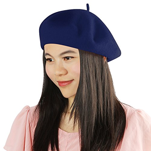 Acecharming Womens French Style Beret Wool Beanie Hat Cap(Thin, Navy Blue) - Navy Beret Blue