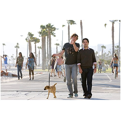 I Love You, Man 3 8 inch x 10 inch PHOTOGRAPH Jason Segel Grey Tee Shirt & Paul Rudd Brown Sweater Walking Small Dog kn