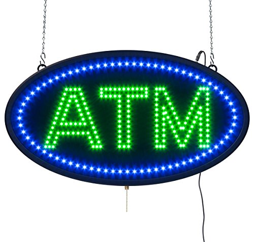 Atm Sign Led - Displays2go Oval Animated ATM LED Sign, Neon Green and Blue Bulbs (LEDATM03)