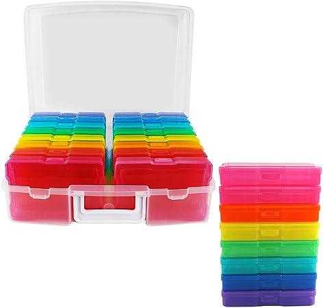 Apofly Photo Storage Boxes,Photo Case,Photo Keeper Cases 16 Boxes Plastic Photo Storage Organizer Suits
