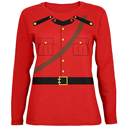 Mountie Halloween Costume (Halloween Canadian Mountie Police Costume Womens Long Sleeve T Shirt Red)