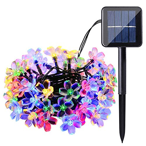 Qedertek Solar String Lights, 22ft 50 LED Waterproof Cherry Blossom Solar Flower String Lights for Indoor/Outdoor,Patio,Garden,Xmas,Holiday,Festivals Decorations (Multi-color)