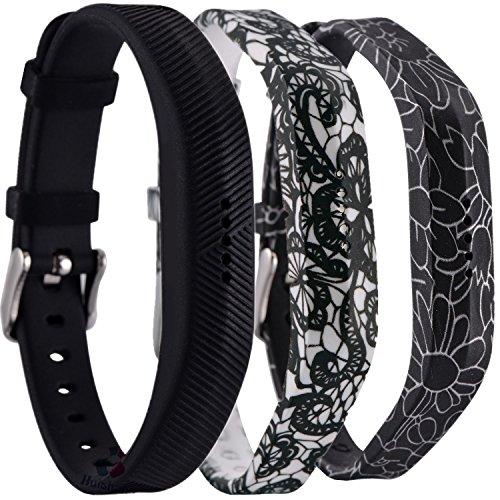 Huishang Flex 2 Accessory Bands for Fitbit Flex 2 / Fitbit flex2, with Chrome Claspor Soft Silicone Bracelet Strap,Wrist Band Adjustable Repalcement (Black,Cape,Blackflower)