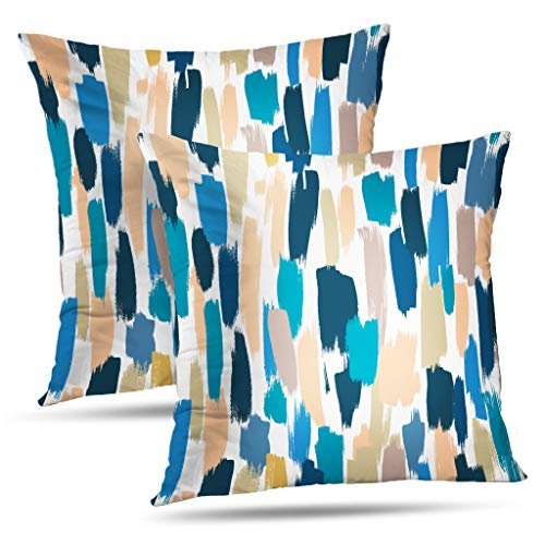 (WAYATO Decorative Throw Pillow Covers,Made Drawn Strokes Blue and Beige Shades Wallpaper Made Drawn Double-Sided Pattern 18 x 18 inch Set of 2 Sofa Pillow Cushion Cover Home)