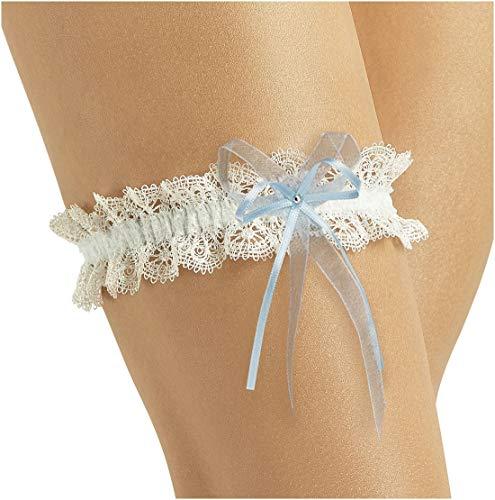 Vintage Bridal Wedding Garter - Elegant w/Lace Sparkling Crystal - IVORY/BLUE