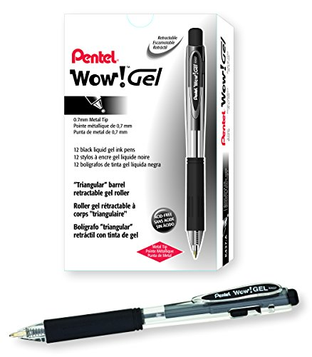 Pentel WOW! Gel Retractable Gel Pen 0.7mm Medium Line Black Ink, Box of 12 (K437-A)