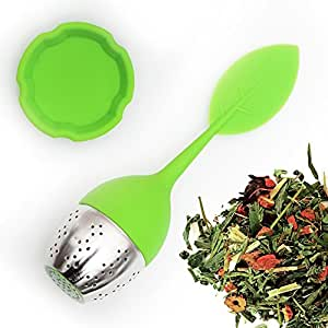 SILICONE TEA INFUSER with Drip Tray and Floating Handle by Teami Blends | Our Best BPA FREE Stainless Steel Ball Infusers for Loose Leaf Teas | Great Strainer as a Gift! (1, Green)