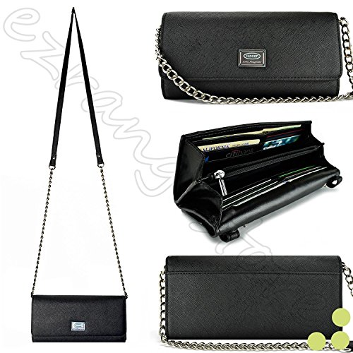 Case+Stand Women Luxury Purse/Pouch/Clutch Fits Apple ZTE Samsung Universal Smart Phone PU Leather Shoulder Strap Handle Flip Wallet – Black. Fits The Following Models: ()