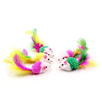 Newin Star 1 pc Juguetes para Mascotas Ratones Peludo con la Pluma Colas de ratón Juguetes para Gatos Divertidos Juguetes para Mascotas pequeñas: Amazon.es: ...