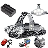 Rayma 5 LED Headlamp 3 CREE XM-L T6 And 2 Q5 white lamps Headlight 15000 lumens LED Headlamp Camp Hike Emergency Light Fishing Outdoor +2x18650 Rechargeable Battery+US 2pcs Plug Charger+Rear light