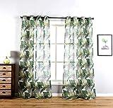 sgofais Home Fashions Indoor/Outdoor Grommet Top Single Patio Curtain Tropical Bahamas Leaf Print Semi Sheer Window Drapes 52' x 84' (2 Panels)