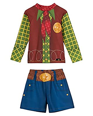 Little Boys Swim Trunks and Swimsuit Set – Adorable Cowboy Costume Design– Long Sleeve Rashguard Set – UPF 50 Sun Protection – Won't Fade – Made In USA – Size 2T, 3T, 4T, 5/6, 7/8
