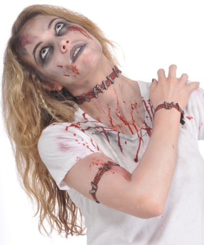 Rubie's Costume Zombie Shop Staple Set, Silver/Red, One Size (Zombie Costumes Women)