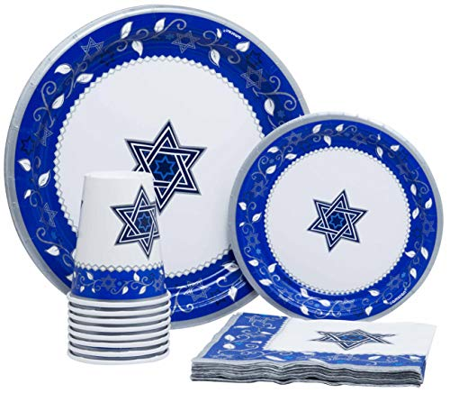 Joyous Passover Pack! Disposable Paper Plates, Napkins and Cups Set for 15 (With free extras)]()