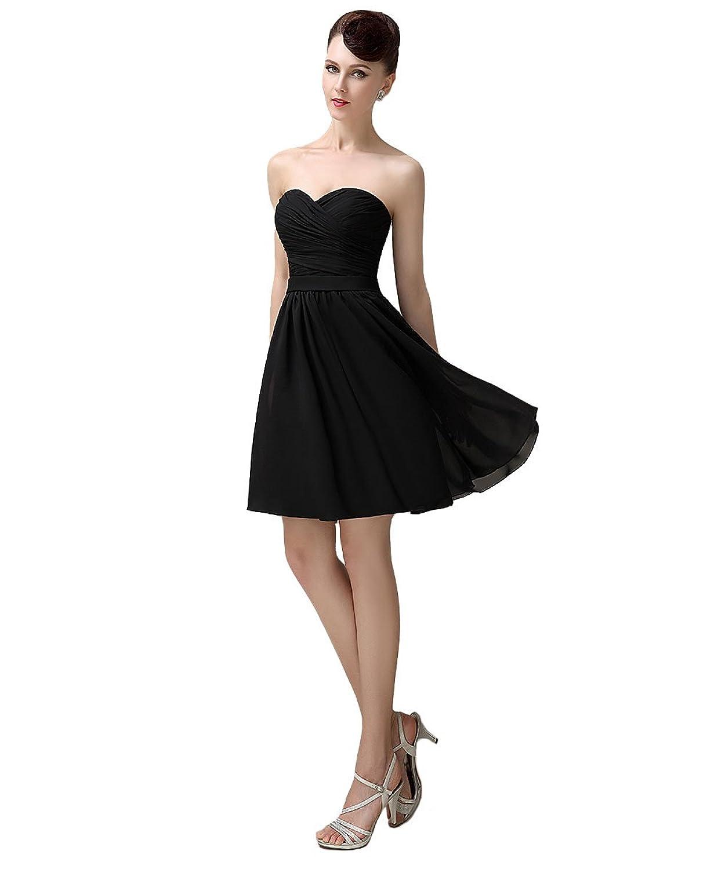 YesDress Available Junior Black Chiffon Sweet heart Knee-length Bridesmaid Dress