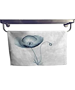 "alisoso Flower Customized Sports Towel Set Image of Poppy Flower in X-ray Floral Radiogram Unusual Look into Nature Art Print Modern Hand Towels setW 8"" x L 24"" Teal White"