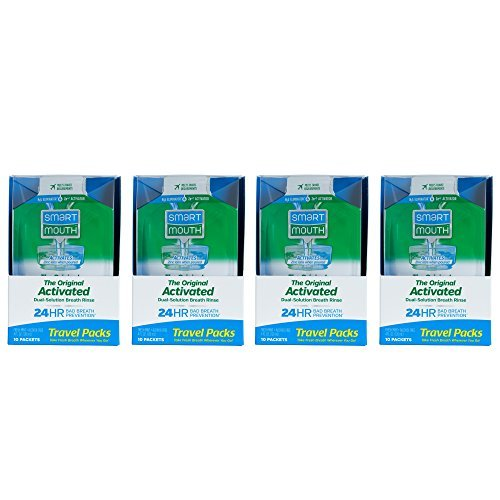 SmartMouth Mouthwash Travel Packets for 24 Hours of Fresh Breath Guaranteed, 4 Boxes, 10 packs each