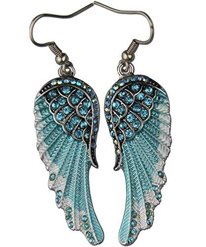 Angel wings wing drop&dangle earrings bling fashion jewelry silver ()