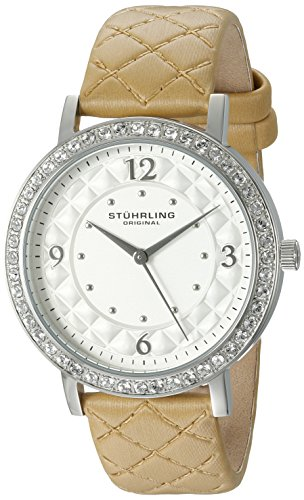 Stuhrling Original Women's 'Audrey 786' Quartz Stainless Steel and Leather Dress Watch, Color:Beige (Model: 786.01)