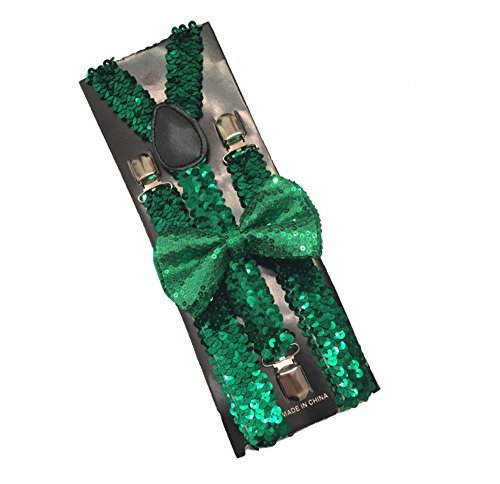 Christmas Suspender and Bow ties Set Combo Mens (Green Sequin bow tie and suspender) -