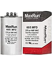 MAXRUN 60+5 MFD uf 370 or 440 Volt VAC Round Motor Dual Run Capacitor for AC Air Conditioner Condenser - 55/5 uf MFD 440V Straight Cool or Heat Pump - Will Run AC Motor and Fan - 5 Year Warranty