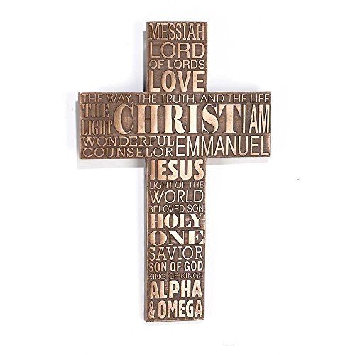 Jesus Wall Cross - Dicksons Names of Jesus Christ 11 inch Bronze Resin Stone Wall Cross