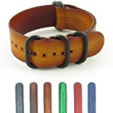 StrapsCo Vintage Leather Nato Strap Watch Band with Matte Black Rings