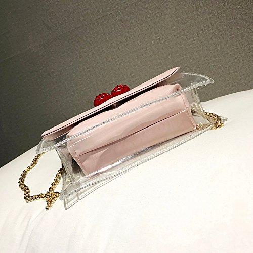 Borsa Bags Lhwy Women A Portafoglio Crossbody Fashion Hit Trasparente Colore Clutch Borse Tracolla Donna Rosa zFqwSzU1