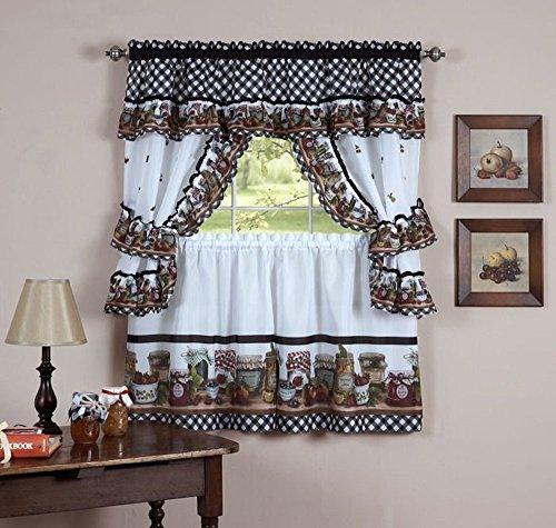 Mason Jars Printed Cottage Curtain Tier Set, 57W x 24L