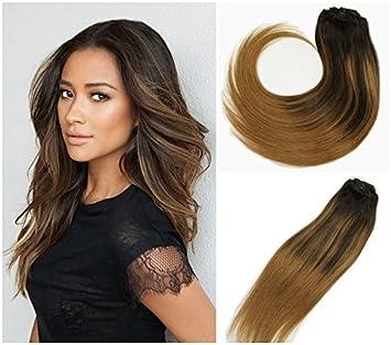 Amazon Com Stella Reina Clip In Hair Extensions Chestnut Brown