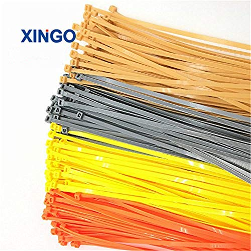 Xingo 12 Inch Heavy Duty Self Locking Colored Nylon Cable Zip Ties 100 Pack 9 colors (Golden Silver Orange Yellow Red Blue Green Pink - Cable Nylon Orange Ties